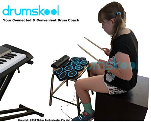 Drumskool Electronic Drum Set, MIDI Electric drum kit, Connect your phone to play along with included Drum Lessons, Speakers, Drum Pedals, Drum Sticks, 10 hours play time, Quickstart Guide by Drumskool (Image #8)