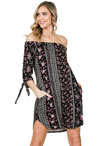 Jersey Paisley Dress Print (Annabelle Women's Solid Paisley Print Knit Off Shoulder Tie Detailed Sleeves Midi Dress Black Large D5570)