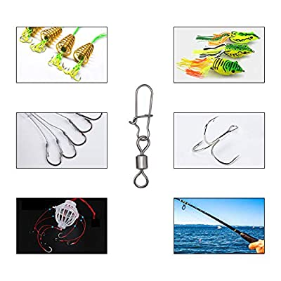 Segarty Fishing Swivels, 210PCS Fishing Rolling Ball Bearing Barrel Swivel with Safety Snap Connector Fishing Accessories