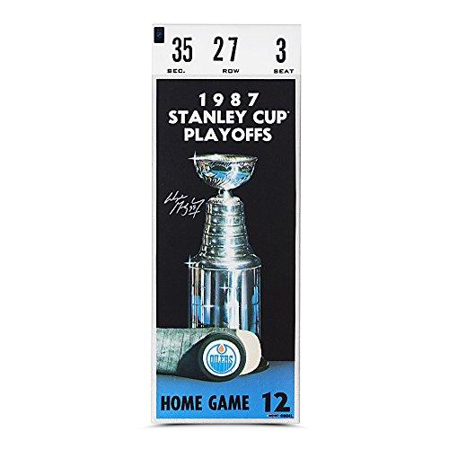 Wayne Gretzky Autographed 1987 Stanley Cup Game 7 Canvas Mega Ticket