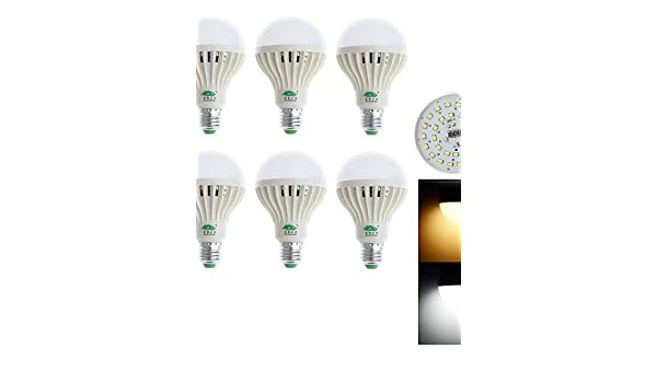 ZQ Modern LED bulb light E27 9W 850LM 3000-3500K/6000-6500K 28x3528 SMD White/Warm White Light Bulb Lamp (85-265V) (6Pcs), cool white - - Amazon.com