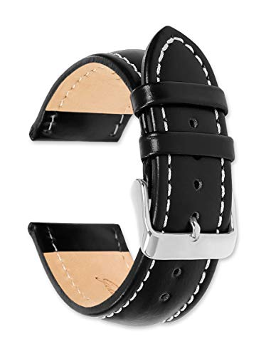 Breitling Style Oil Tanned Leather Watchband | 19mm Black