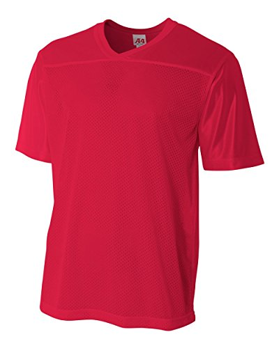 Adult Scarlet 2X (Blank Back) Moisture Wicking V-Neck Football Jersey by A4 Sportswear