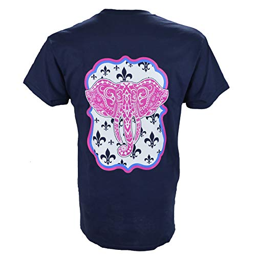 (Southern Charm Elephant on a Short Sleeve Navy T Shirt)