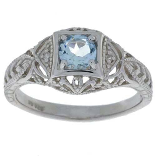 Genuine Aquamarine & Diamond Round Ring .925 Sterling Silver Rhodium Finish,Size (Aquamarine Round Ring)