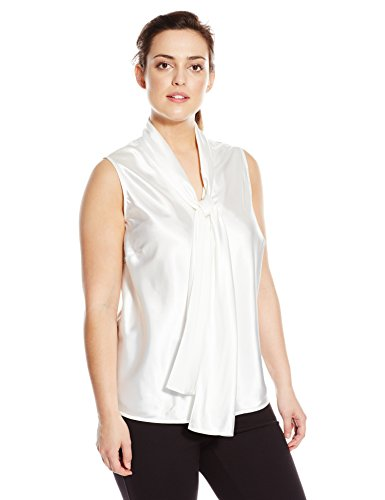 Nine West Women's Plus Size Stretch Charmeuse Tie-Neck Camisole, Ivory, 2X