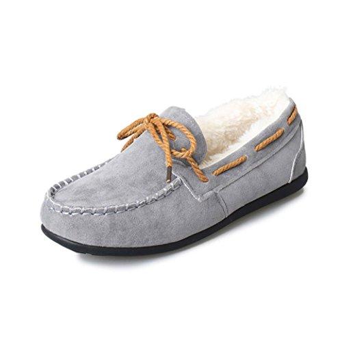 huichang Winter Women Warm Flats Rubber Soft Round Casual Flat Shoes Gray