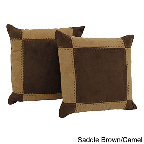 Blazing Needles Patchwork Micro-Suede Throw Pillows (Set of 2) - Set Pillow Suede