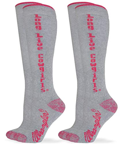 Wrangler Women's Long Live Cowgirls Boot Socks 2 Pair Pack, Pink, Medium
