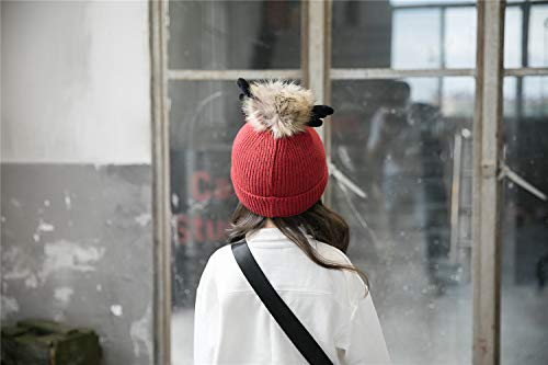 ACVIP Little Girl's Knit Pom Reindeer Antlers Winter Skull Cap (red) by ACVIP (Image #2)'