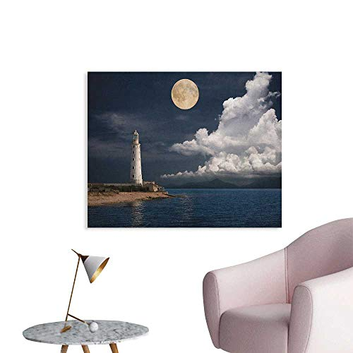 (Anzhutwelve Lighthouse Wallpaper Lighthouse Moonlight Island Large Clouds Sea Seaside Waterfront Night Time Bay Poster Print Multicolor W32 xL24)