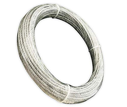 Muzata Galvanized Wire Rope Aircraft Cable for Railing,Decking,DIY Balustrade, 1/8Inch,7×7,165Feet