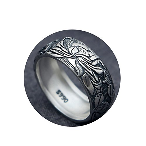 (Beydodo Sterling Silver Rings for Men Biker Gothic Ring Large Punk Rock Buddhist Lotus Ring Size 10.5)