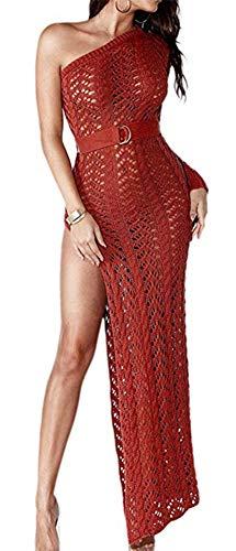 (Speedle One Shoulder Crochet Dresses for Women Beach Long Sleeve Hollow Out Side Split Knit Dress Red XL)