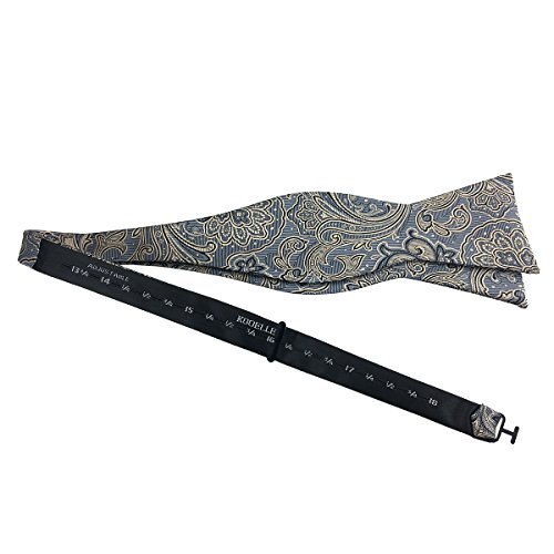 for Mens Floral Silver Grey Classic amp; Tie Self Set Bow Khaki KOOELLE Adjustable Jacquard Pattern RIppt