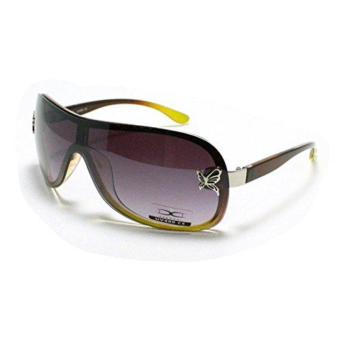 Brown Yellow Butterfly Decor Sunglasses Womens Rimless Shield 2-tone - Juicy Orange Sunglasses