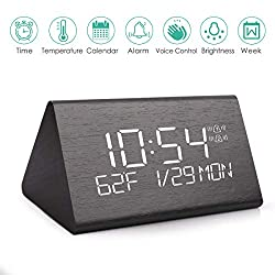 Wooden Digital Alarm Clock with 7 Levels Adjustable Brightness, Voice Command Electric LED Bedside Travel Triangle Alarm Clock, Display Time Date Week Temperature for Office and Home