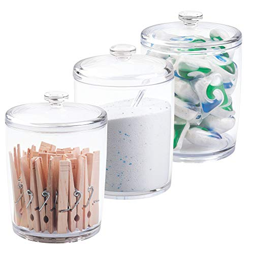 mDesign Plastic Laundry Shelf Storage Organizer Jar Holder Set for Laundry Room Storage - Holds Detergent Powder, Pods, Clothes Pins, Dryer Sheets, Scent Boosters, 3 Pack - -