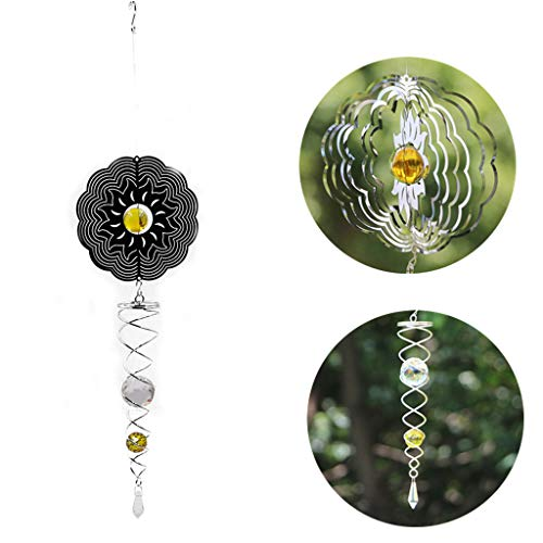 Ymeibe Metal Sun Wind Spinner Hanging Garden Wind Spinner with Helix Spiral Tail and Glass Ball 3-D Stainless Steel Kinetic Twisting Decor for Patio, Deck or (3d Metal Wind Spinners)