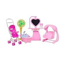 11'' Dolls' Furnitures Stroller, Swing, Fan, Bathtub & Dresser