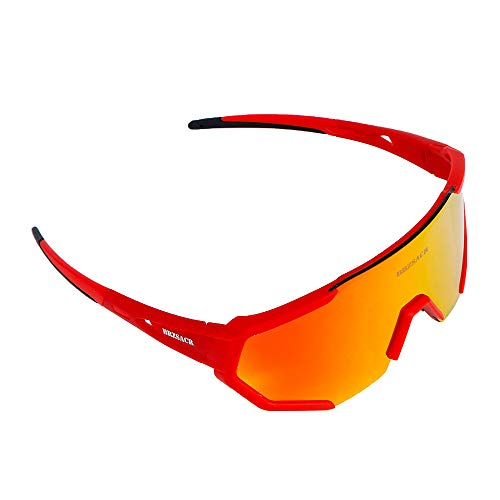 Racing Brackets - Polarized sports sunglasses, motorcycle riding glasses, 3 interchangeable lenses (red)