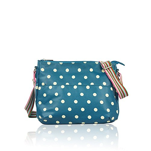 Blue Oilcloth Messenger Teal Fashion Spotty Ladies Handbag Matte Polka Bag Dot dx1gq