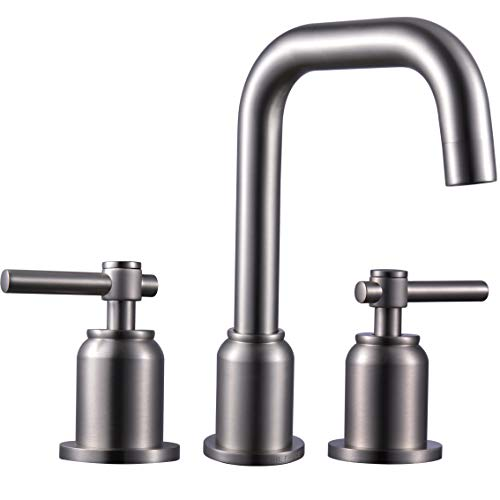 MR. FAUCET Two-Handle Bathroom Sink Faucets 3 hole Lavatory Deck Mount, Brushed ()