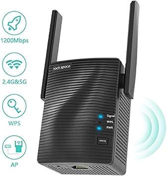 Repetidor de Red WiFi - Amplificador WiFi AC1200 Doble banda 5G & 2.4G, Extensor de Red WiFi con Puerto Gigabit Ethernet,Repetidor WiFi con WPS y Modo de Punto de Acceso,Cobertura de Señal Hasta 1