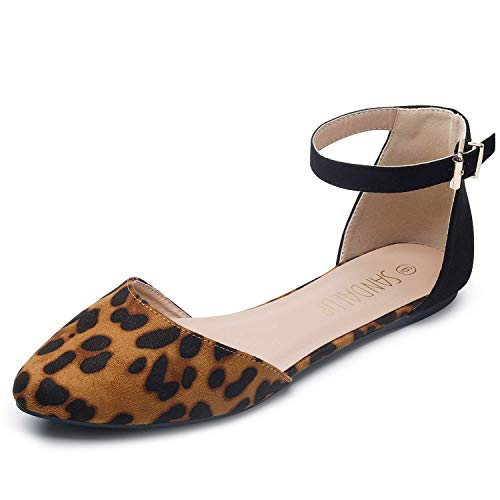 SANDALUP Pointy Toe Flats with Adjustable Ankle Strap Buckle for Women Leopard-Black 09 ()