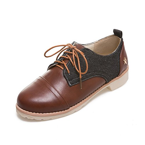 BalaMasa Ladies Bandage Square Heels Round-Toe Urethane Oxfords Shoes Black q44l9f