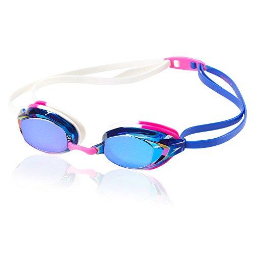 Speedo Vanquisher EV Mirrored Swim Goggles, Panoramic, Anti-Glare, Anti-Fog with UV Protection, Pink/White, 1SZ