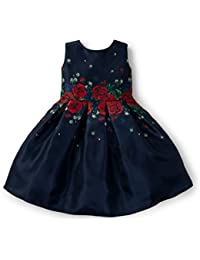Girls' Navy Red Rose Dress