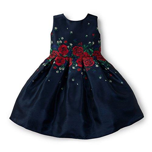 Hope & Henry Girls Navy Red Rose Dress