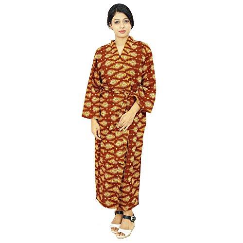 India algodón de las mujeres del traje de dama Wrap Crossover Batas abrigo del balneario Marrón y amarillo