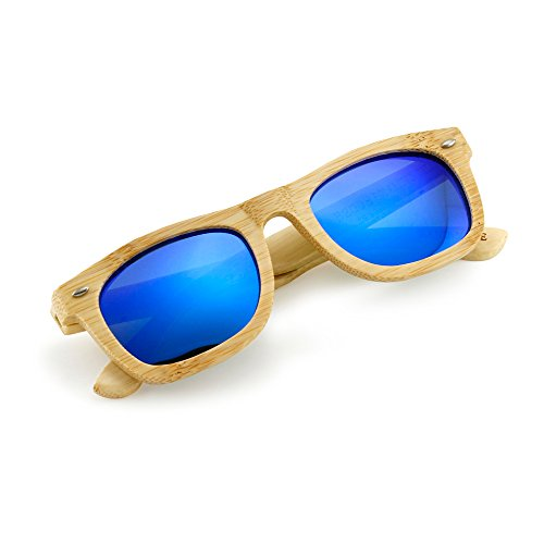 Polarized Genuine Bamboo lightweight Wood Entire Frame Wayfarer Vintage Handcraft Sunglasses Mens Womens Eyewear with Wooden Bamboo box - Blue