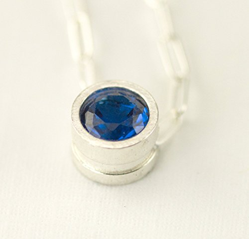(Sterling Sapphire Birthstone Slider Necklace, 6 mm Floating Gemstone of Your Choice)