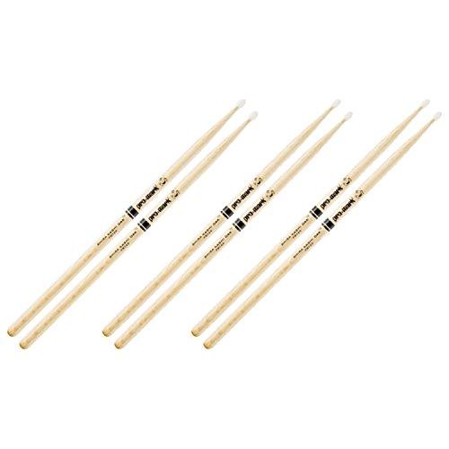 3 Pairs of Pro-Mark PW7AN Shira Kashi Japanese White Oak 7A Nylon Tip Drumsticks