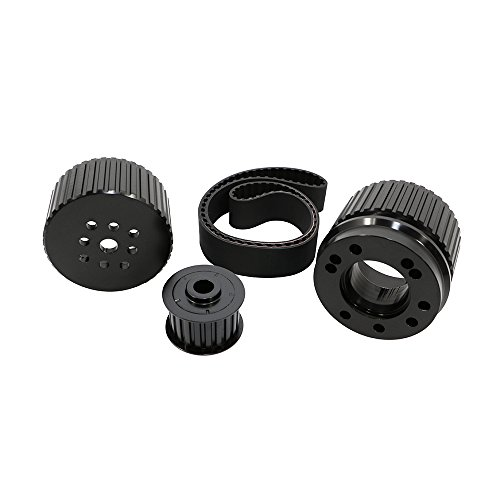 Assault Racing Products 2253KIT-BK Big Block Chevy Black Billet Aluminum Gilmer Belt Drive Pulley Kit BBC 427 454 (Pulley Aluminum Chevy)