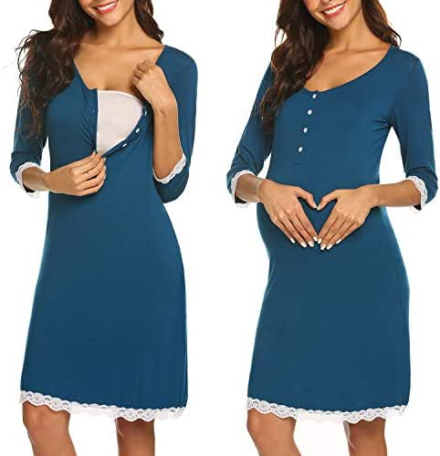Ekouaer Women Delivery/Labor/Maternity/Nursing Nightgown Long/Short Sleeve Pleated Breastfeeding Sleep Dress(S-XXL)