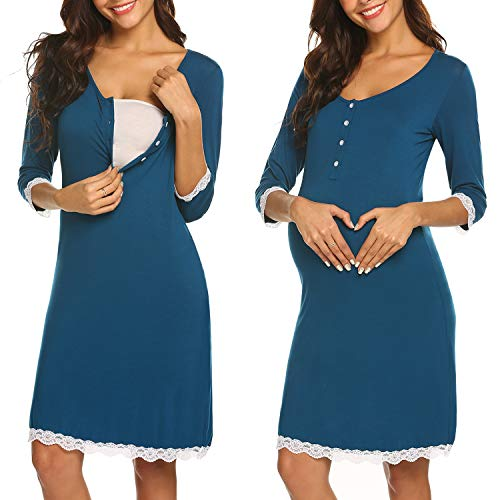 Ekouaer Maternity Women's Nursing Lace Trim Nursing Gown For Breastfeeding (Teal M) (Womens Best Before And After)