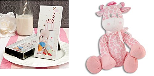 (Plush Pink Giraffe Rattle and Frame Set ( 2 Pcs) )