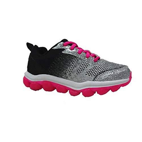 (Danskin Now Girls' Glitter Athletic Bubble Shoe Lace Up Black Pink Size 5)