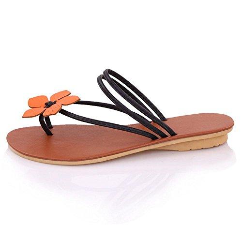COOLCEPT Mujer Flor Sandalias Slingback Verano Planos Zapatos Negro