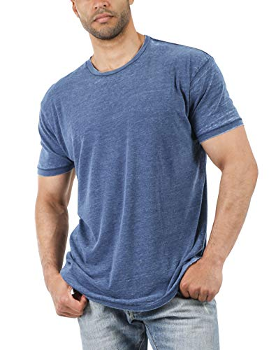 Hat and Beyond Mens Short Sleeve Burnout Crewneck Tee Vintage Faded T Shirt (Small, 1hc21_Nautical Blue)