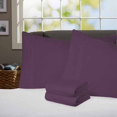 Sweet Home Collection Supreme 1800 Series 4pc Bed Sheet Set Egyptian Quality Deep Pocket - Queen, Purple