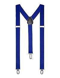 Boolavard TM Women's Clip-On Adjustable Pants Elastic Y-Back Suspender Braces Blue One Size