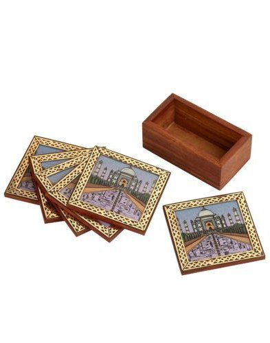 Rangsthali Tajmahal Designer Gemstone Wooden Tea Coster Set Of 6 Pcs by Rangsthali (Image #3)