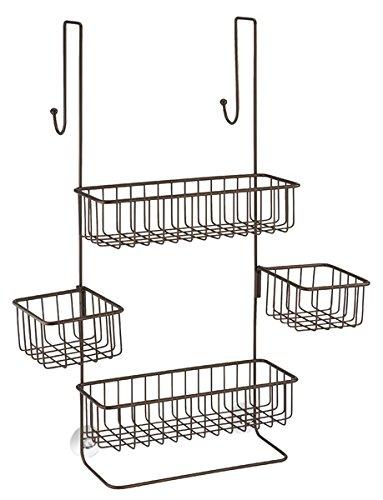 mDesign /étag/ère de Douche /à Suspendre /à la Porte de la Douche Bronze Valet de Douche pour Tout Accessoire de Douche en m/étal serviteur de Douche Pratique sans per/çage