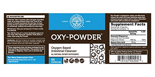 Global Healing Center Oxy-Powder Oxygen Based Safe and Natural Colon Cleanser and Relief from Occasional Constipation 60 Capsules