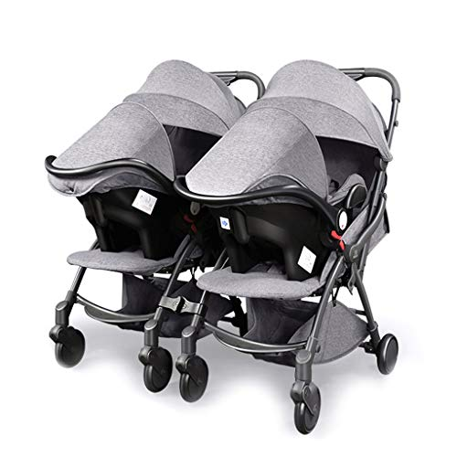 Double Stroller, Twin Tandem Stroller with Adjustable Backrest, Footrest, Foldable Design for Easy Transportation Can Be Split Into Two Separate Strollers
